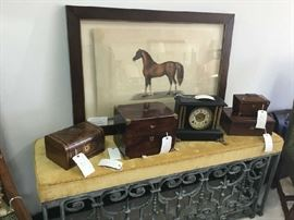 2nd LR Layfette Horse on Parchment, Hand Wrought Iron Bench with English Tea and Decanter Boxes