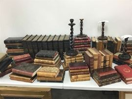 English Leather Bound Books with English Barley Twist Candlesticks