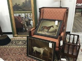 George Barwick Brown Horse Painting, MADAM White Horse Painting, Trumeau Mirror with Canvas Hunt Scene, English Chair and Canterbury Magazine Rack