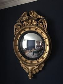 Federal antique gilt convex mirror with eagle