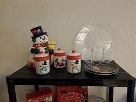 christmas plates, jars, snowman