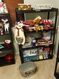 stockings, sled, christmas tin with reindeer