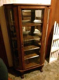 Antique curio curved cabinet