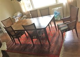 Inlayed Table w Set of 6 Chairs - The Rug is 8 ft x 10 ft