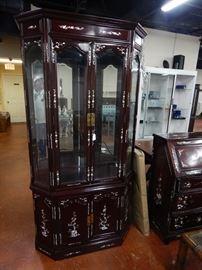 Oriental M.O.P. Inlay china cabinet