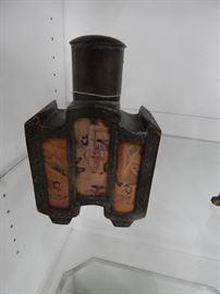 Oriental Metal Flask, H.P. Panels