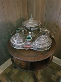 Sterling silver antique turn table serving piece and antique round table