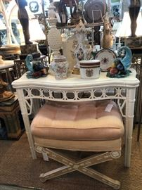 Faux bamboo fretwork console over classical X-frame bench.