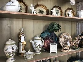 Eglomise placques, vintage pottery, seashell accents.