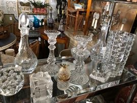 Collection of signed crystal, including Tiffany & Baccarat.