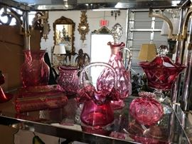 Collection of vintage cranberry glass.
