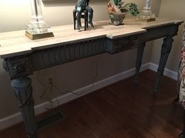 Faux Marble Top Console