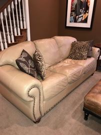 "LEGACY CREAM LEATHER STUDDED SOFA-90""L x 39""D x 35""H"