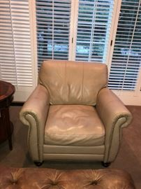 "LEGACY CREAM LEATHER STUDDED CHAIR-36""W x 40""D x 33""H"