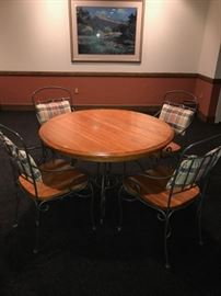 """ROUND OAK TABLE WITH METAL BASE AND 4 CHAIRS (COMES WITH LEAF) -62""""L x 43""""W x 30""""H"""