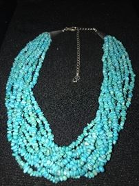 CAROLYN POLLACK 10 STRAND TURQUOISE NECKLACE