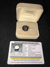 11.26 CARAT NATURAL BLACK DIAMOND RING