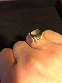 6.02 CARAT NATURAL BLACK DIAMOND RING