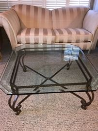 """METAL AND GLASS SQUARE COFFEE TABLE-42""""L x 42""""W x 18""""H"""
