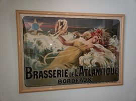 1920's French Advertising poster.  Piece of history from the Neon Goose. Omaha, Ne.
