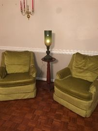 Like green! You will love this pairs of velour chairs perfect condition $99 for pair!