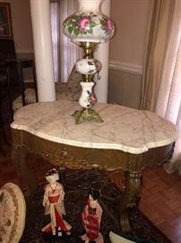 Beautiful carved table and marble top! Reduced greatly fro $325 to $150! Arrive early!