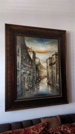 Very large oil painting.  Total is 5'x4' including a very thick frame.