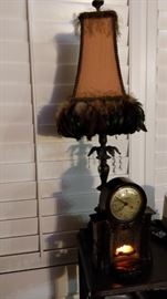 lamp and very interesting 1950s clock with a working fireplace inside.