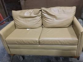 Leather sofa couch bed