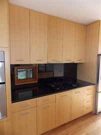 "Maple Custom Kitchen Cabinets , Stainless Steel Oven W / Built In Microwave 30"" x 42"" , GE Profile 5 Burner Cooktop , 36"" Gaggenau Hood , Sorry NO Dishwasher & Refrigerator Opening Size 36"" x 70""  , Black Granite Countertop ,  Island , Stainless Steel Double Sink"