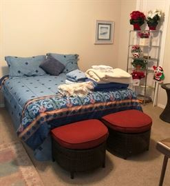 Queen bed and matching rattan stools