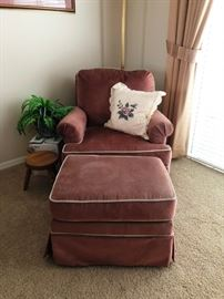 Velvet chair and ottoman