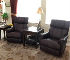 Matching LazyBoy genuine leather recliners