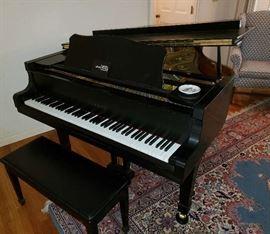 """Yamaha C-3 Conservatory Series Grand Piano. Satin Ebony 6'1""""   c 1991"""