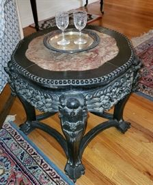 Accent table Hand Carved ebony Wood Base with inlaid rose marble top