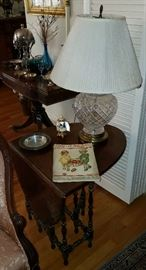 Antique Mahogany Drop Left Side Table and Crystal Lamp