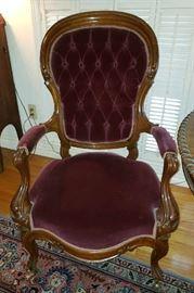 1 of 2 Elegant Antique Velvet Parlor Chairs