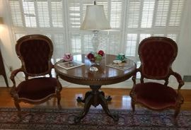 Mahogany Ball & Claw Round Table and Pair of Mahogany & Velvet Parlor Chairs