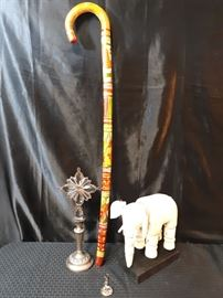 Carved Wood Walking Cane Ianthe Silver Plate England