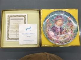 "Now only $20.00  Large 13""  collector plate - Hibel - Flower Girl In original box with certificate   Beautiful plate"