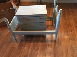 antique doll bed and drawers