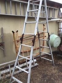 Old bed fram & ladder