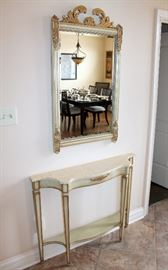 Marble-top hallway table and matching mirror