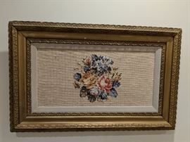 Embroidered piece in vintage gilt frame.
