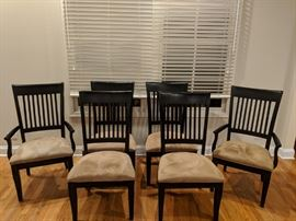 Set of 6 Dining Chairs.  Lightly distressed black.