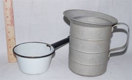 Aluminum Water Pitcher and Small Enamel Cook Pot