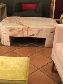 Carerra Red Vein Marble Coffee Table From Italy. This chunk of goodness is over 350 llbs. It's a stunner piece.