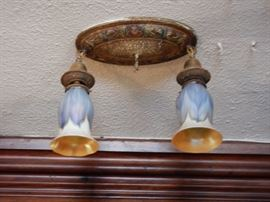 QUEZAL ARTGLASS LAMP SHADES-ALL DETACHABLE LIGHT FIXTURES FOR SALE