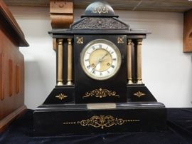 MARBLE PRESENTATION CLOCK WITH BRONZE INSERT