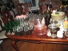 tons of crystal, green glassware, depression glass
